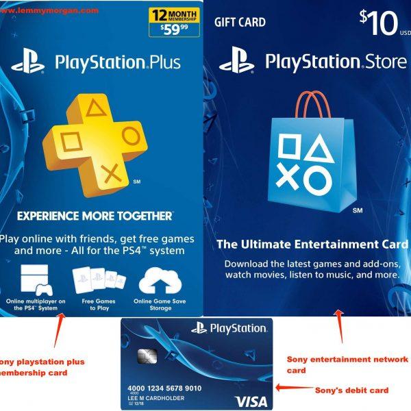 PlayStation cards/vouchers