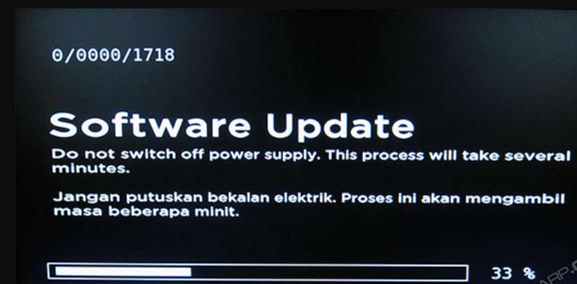 Receiver's software update in progress