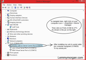how to locate a working com port
