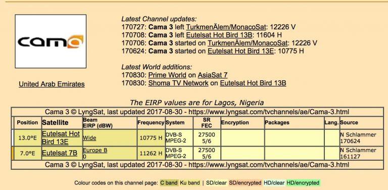 [FTA] IR.Cama sport 3 on hotbird 13 13.0ºE – currently showing all leagues soccer