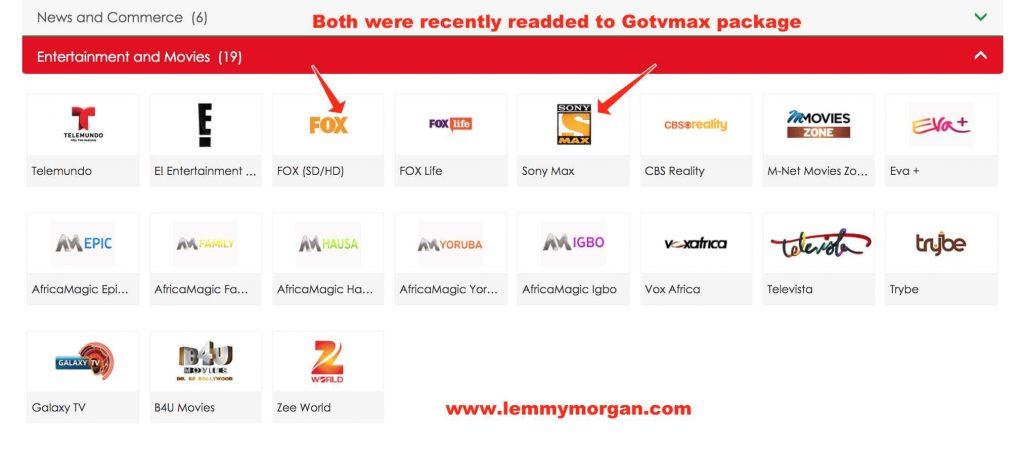 Full entertainment channels on GOtv Max