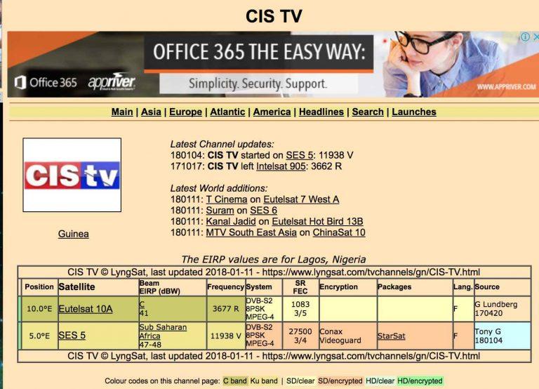 Signal 6 Vs Cis TV FTA galore on 1.8m dish @Eutelsat 10A (10°E) How to track