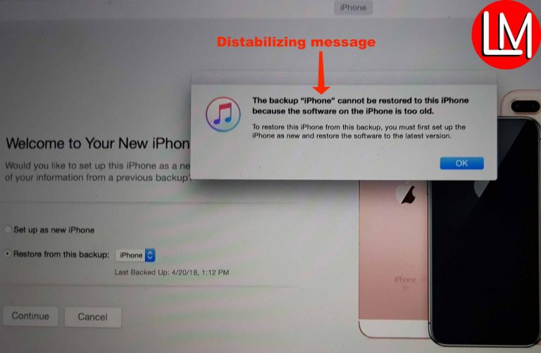 "Solve the backup ""iPhone"" cannot be restored to this iPhone because the software on this phone is too old"" error on iTunes without restoring your iPhone to the latest software"